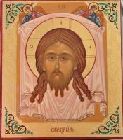 Спас Нерукотворенный (чеканка по левкасу, глазурь)